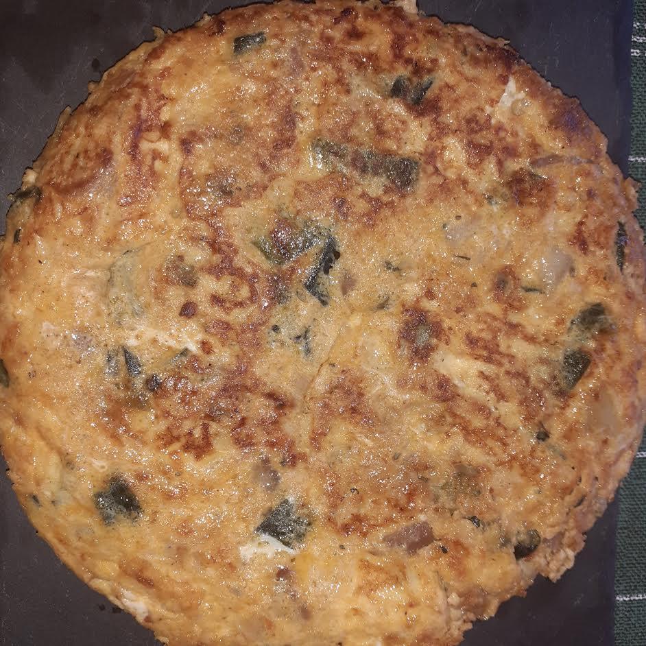 Tortilla de patata y calabacín con morro de cerdo